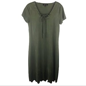 MELISSA PAIGE Olive Green Punch Out Bottom Dress